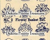 Depression Era Flower Basket Hand Embroidery Transfer Designs 1930s