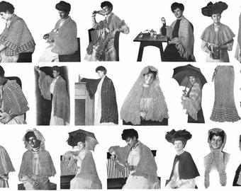 1931 Flapper Depression Era Shawl Shawls Capes Patterns DIY Knit Crochet Pattern Book