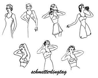 WWII Swing Era Lingerie Book Sew Vintage Underwear Bra Slips Taps 1948