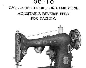 c1945 Singer Sewing Machine Manual 66-18 Book Attachments Use Guide Parts Numbers Sewing Guide