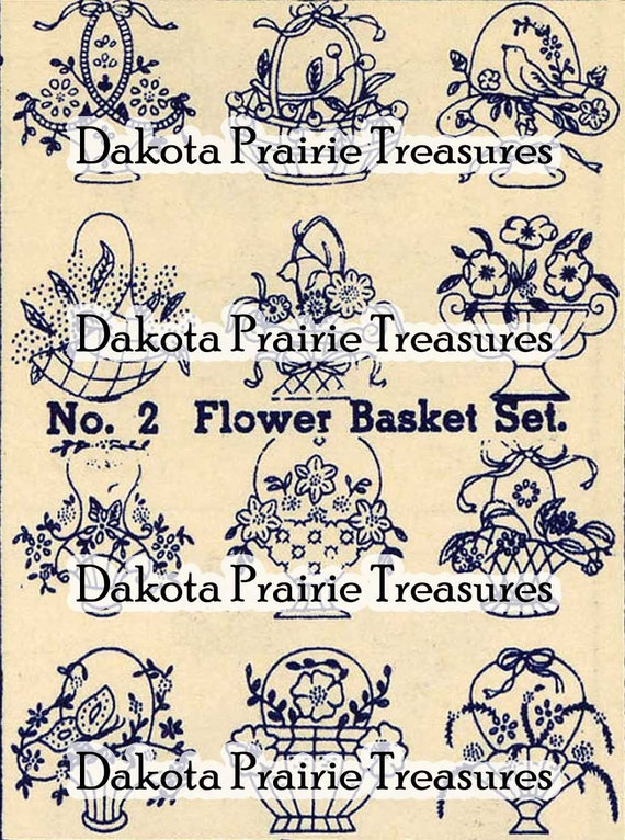 Depression Era Flower Basket Hand Embroidery Transfer Designs 1930s