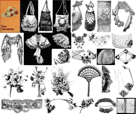 1910 Antique Victorian Edwardian Book Purses Handbags Reticules Bags Floral Crochet Pattern Hats