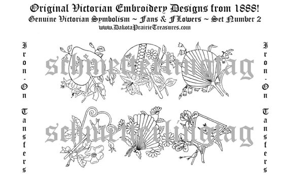 Victorian Era Embroidery Iron on Transfers Fan Fans & Bird Birds Quilt Pattern Designs 1888 Set 2