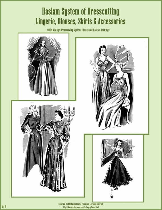 1940s 40s Haslam Draft Pattern Making Book No: 8 (Sewing Drafting) DIY Swing Era Dress Fashions