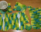 Crochet Pattern, Barefootin Placemat set, ideal for summer picnics