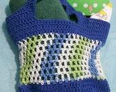 PDF Crochet Pattern, Blue Stripes Beach Tote