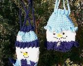 Mr. and Mrs. Bonhomme Snowman Gift Bags Pouches, Crochet e-pattern