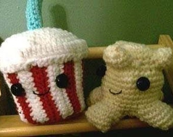 Crochet Pattern, Popcorn and Soda Amigurumi Duo