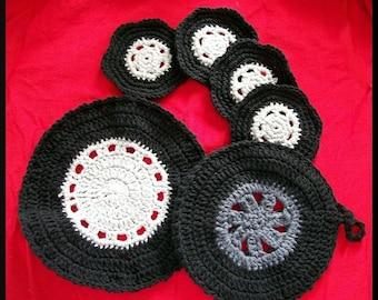 Crochet Pattern,  Coasters, Dishcloth and Hotpad, Set of Wheels