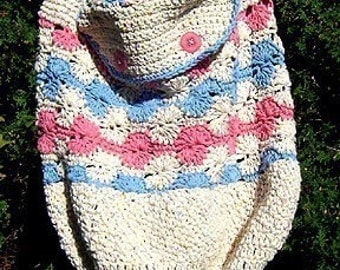 Crochet Pattern, Tote Bag with Button Flap