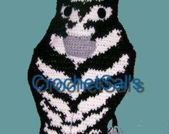 Crochet Pattern, Zebra Gift Bag, Stocking, Pillow