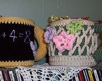 Crochet Pattern, Garden Trellis Mug Caddy