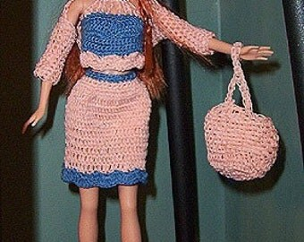 Fashion Doll Dress Crochet Pattern, Springtime Shells
