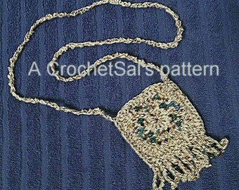 Crochet Pattern, Southwest Beaded Amulet Bag Instant Download