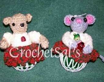 Christmas Crochet Pattern, Bear and Mouse Ornaments