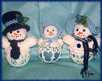 Crochet Pattern, Snowman and Family Christmas Ornaments