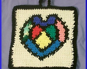 Crochet Pattern, Stained Glass Heart Potholder