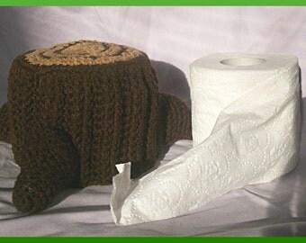 Crochet Pattern, Tree Stump Toilet Paper Cover