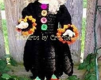 Witch Frizzy Head, Crochet Pattern Halloween costume for dolls