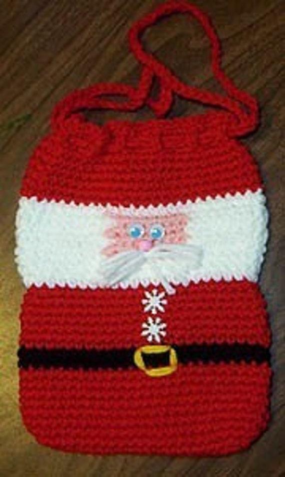 Crochet Grocery Bag Pattern : Christmas Crochet e-pattern Santa Gift Bag