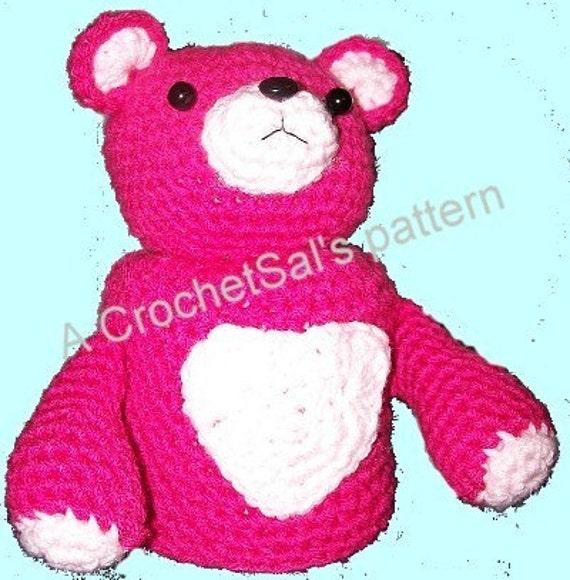 Crochet Pattern Teddy Bear Toilet Paper Cover Heart by CrochetSal
