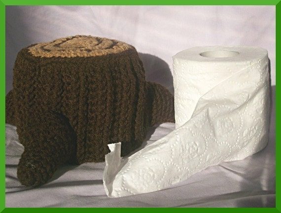 Crochet Pattern, Tree Stump Toilet Paper Cover