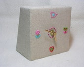 Tweet o'clock Hand Embroidered Desk Clock Flowers Birds HALF PRICE