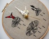 Embroidered Linen Folk Tale Wall Clock - Limited Collaboration Series with Heidi Burton - 3 of 4