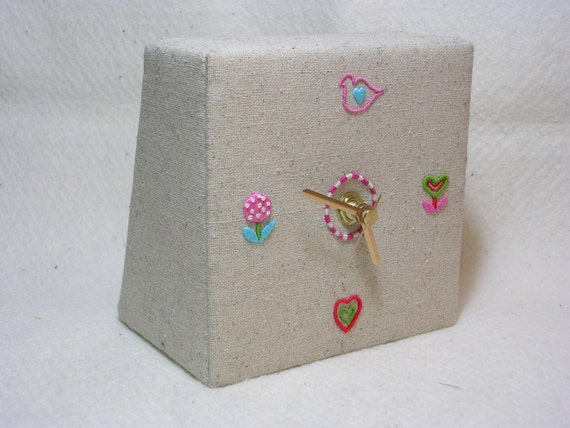 Tweet o'clock Hand Embroidered Desk Clock Flowers Birds HALF PRICE
