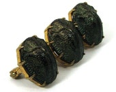 Victorian GENUINE SCARAB BEETLE Brooch - Iridescent Green - Trio Set in Gold- Circa 1870