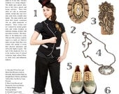 """Victorian Frozen Charlotte Necklace and Brooch N'OUBLIEZ PAS """"Mon Coeur"""" Filigree Pleated Ribbon Featured in Auxiliary Magazine"""