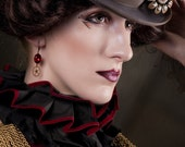 Featured in Dark Beauty Magazine  STEAMPUNK EARRINGS Gearrings in Ruby Red and Brass by Nouveau Motley