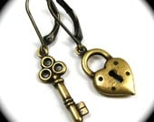Key to my Heart Earrings - Lock and Key in Antiqued Brass by Nouveau Motley