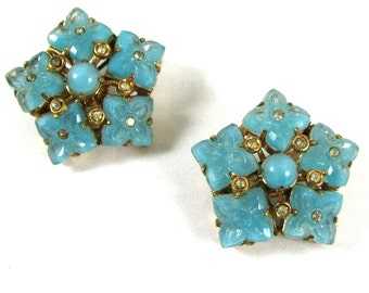 Art Deco SCATTER PINS Czech Glass Turquoise Glass and Rhinestone Flower Motif Brooches Signed Czecho CIRCA 1920
