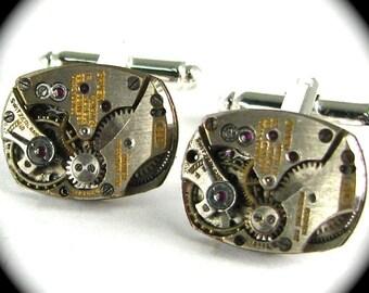Steampunk Cufflinks Featuring UNIQUE GRUEN Vintage Watch Cufflinks Ruby Jeweled MATCHED