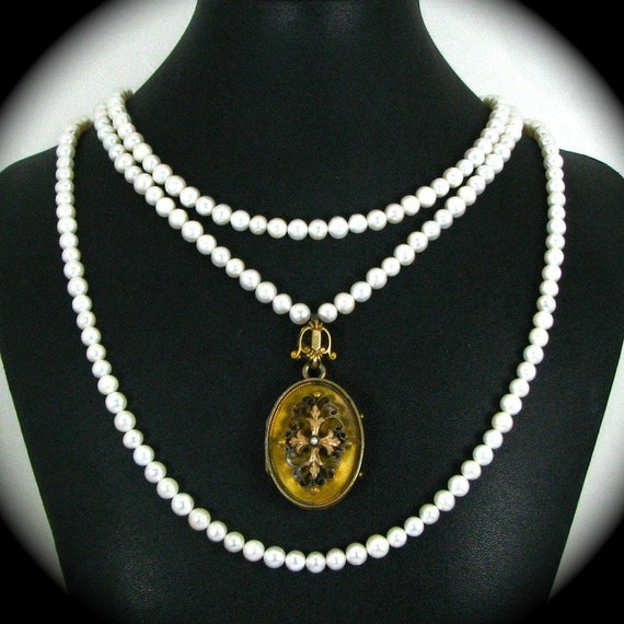 The Lady Seaton Necklace II - Upcylced Circa 1870s Victorian Etrusan Revival Locket Genuine Pearls - Altered Heirlooms Nouveau Motley