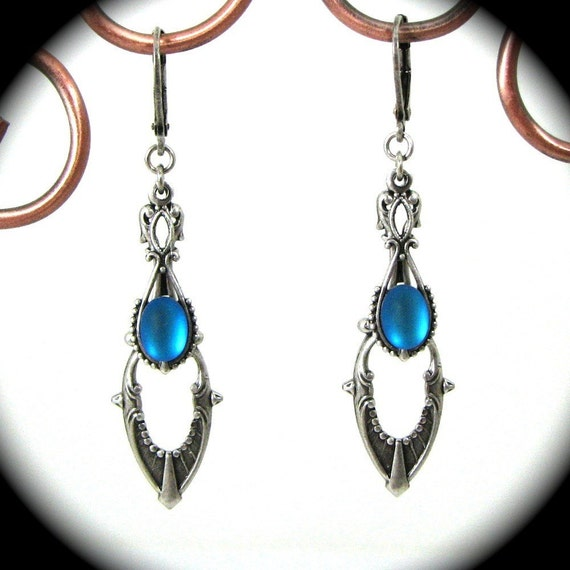 Exquisite Art Deco Style Drop Earrings in Silver with Cerulean Blue Glass Cabochons