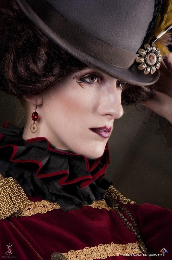 Featured in Dark Beauty Magazine  STEAMPUNK EARRINGS Gearrings in Purple and Brass by Nouveau Motley
