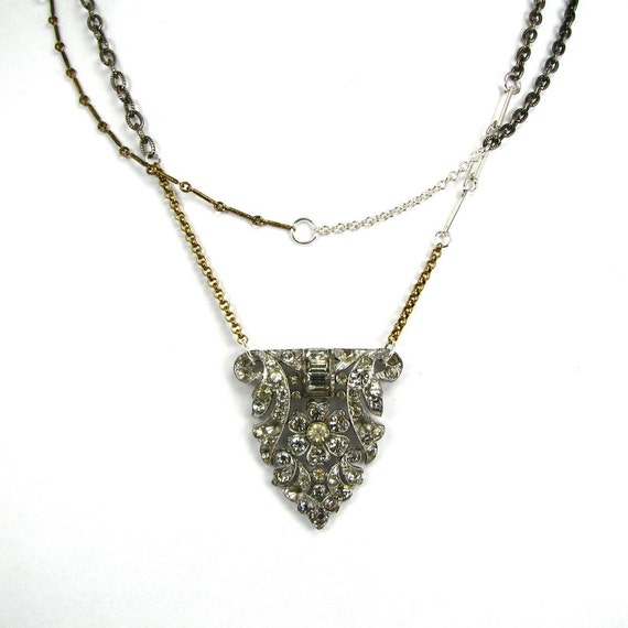 """Upcycled Art Deco Rhinestone Necklace """"The Theda Necklace"""" Multi Toned Crazy Chain Altered Herilooms by Nouveau Motley"""