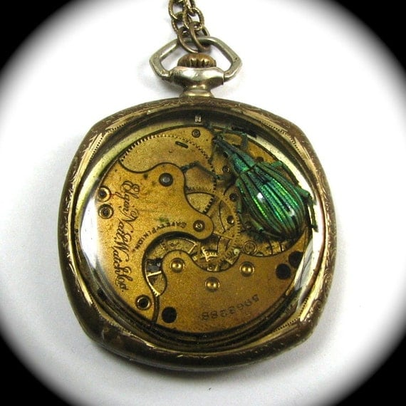 KAFKA CLOCK Steampunk Beetle Necklace with Genuine Weevil - Art Deco Gold Fill Pocket Watch Case Ornate Segmented Movement by Nouveau Motley
