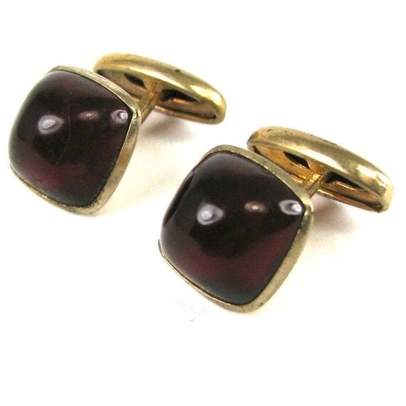 STUNNING Art Deco Gold Fill Cuff Links with Deep Ruby Red Stones Circa 1930