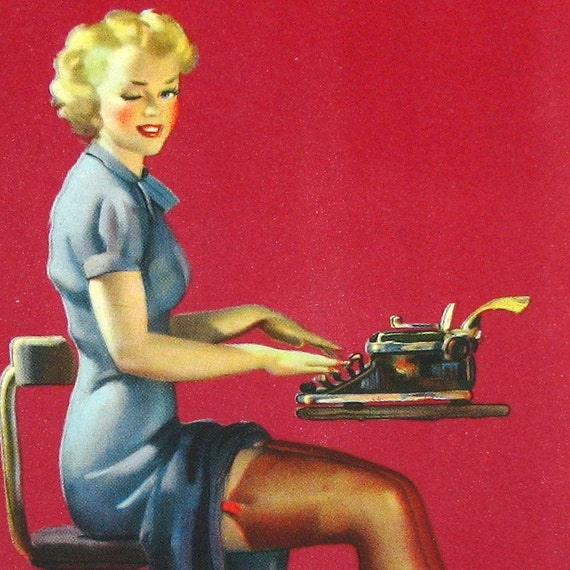 SCARCE Mutoscope Card Pin Up GIL ELVGREN - Just the Type - Circa 1940