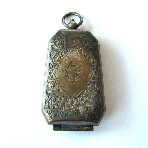 RESERVED Ornate Victorian German Silver Sovereign Holder for Chatelaine - Floral and Leaf Motif -  Coin Purse Pendant - CIRCA 1880