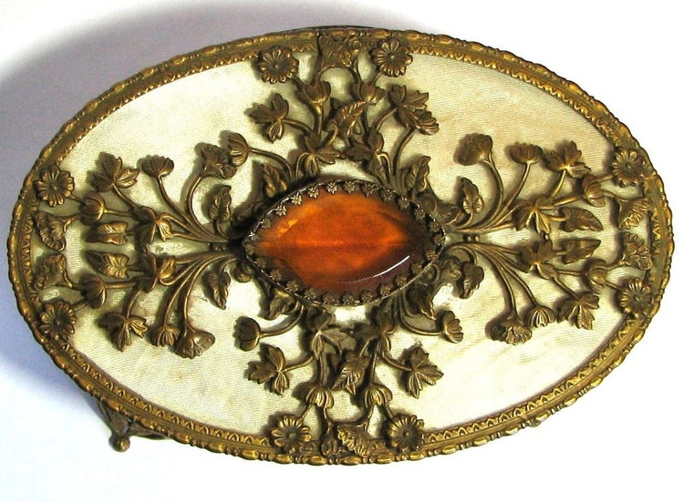 Large Art Nouveau Jewelry Box With Golden Topaz By