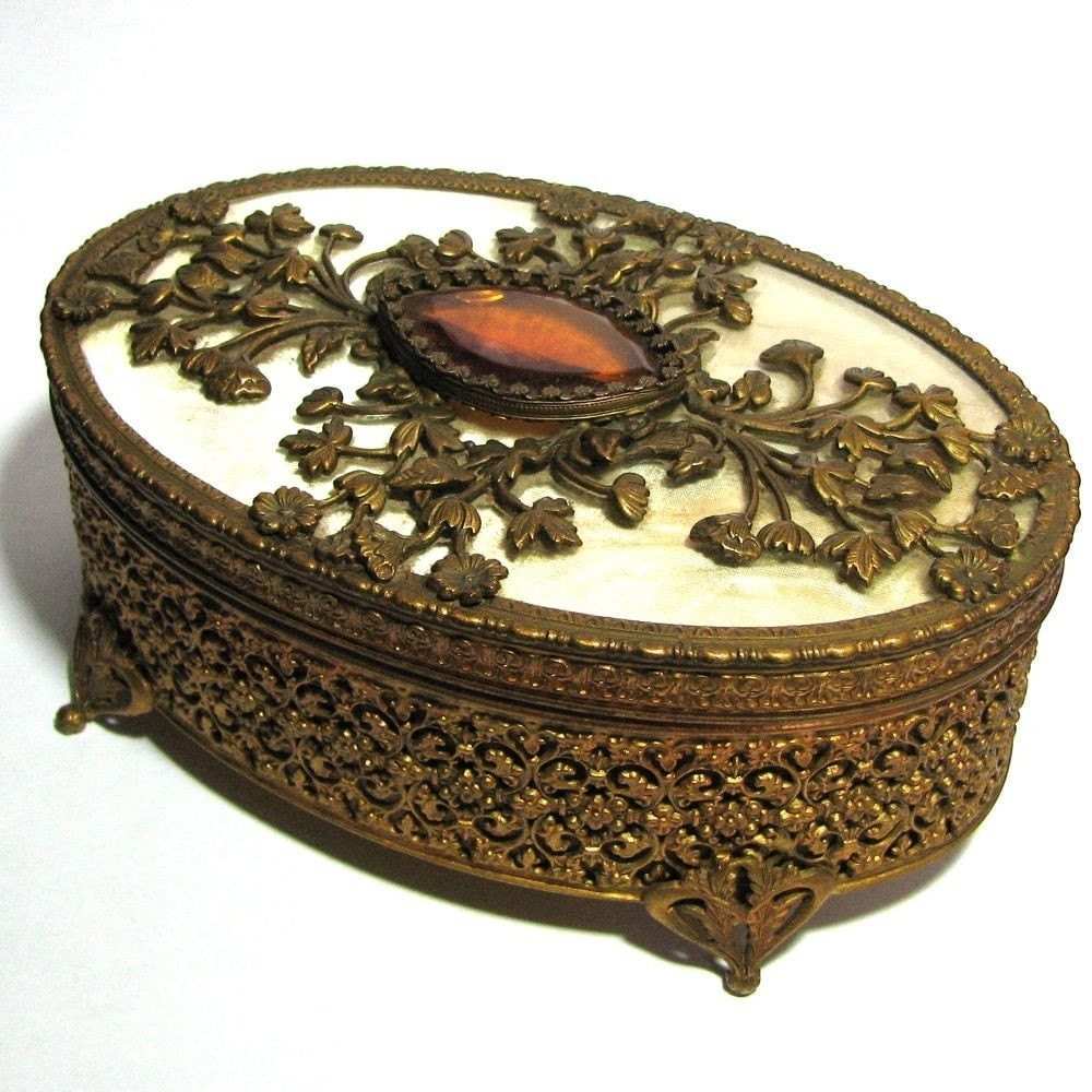 large nouveau jewelry box with golden topaz glass