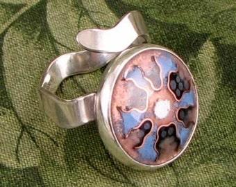 CREATION DAY - Blue - enamel on copper adjustable sterling ring - OOAK