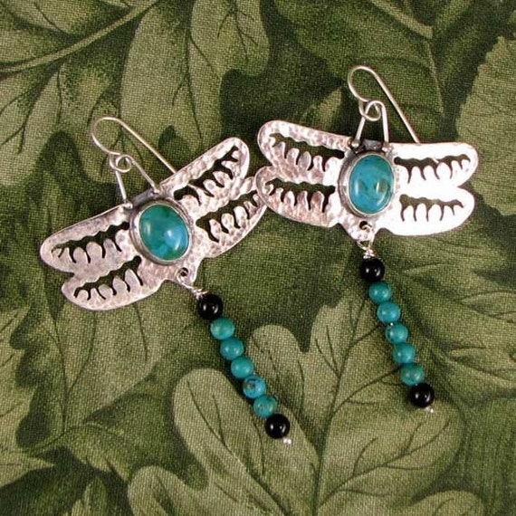 BLUE SKIMMER sterling, turquoise and black onyx dragonfly earrings