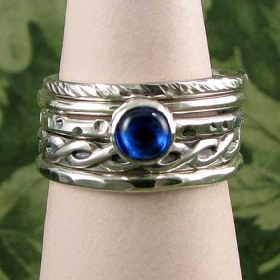 SAPPHIRE SPINEL STACK RING SET sterling 5 rings in all