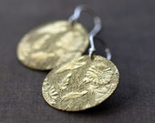 Deco Floral Earrings Sterling Silver Patterned Brass Circle Disk Disc Handmade Jewelry