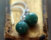 Dark Emerald Earrings, Oxidized Black Sterling Silver, Emerald Drop Earrings, Gemstone Earrings, Elegant Dangle, May Birthstone